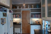Completed wall area with shelving and drawers - sparrowsoirees
