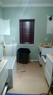 Day 1: kitchen gutted and lower cabinets placed - sparrowsoirees