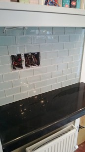The counters were installed and the backsplash tile went up on the same day - sparrowsoirees