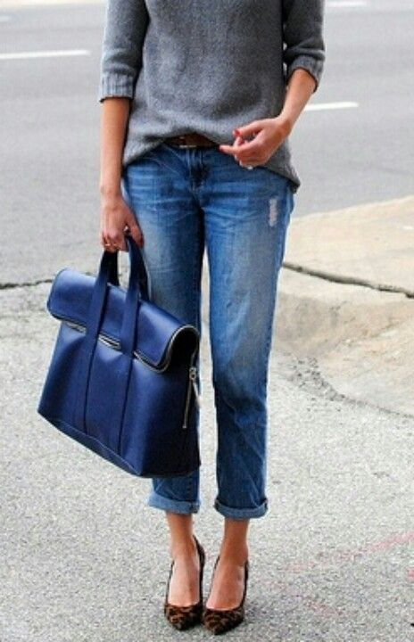 blue bag-sweater-jeans